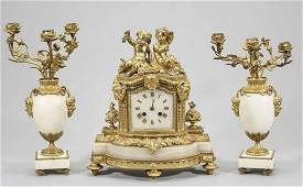 19TH C. FRENCH DORE BRONZE AND MARBLE CLOCK SET