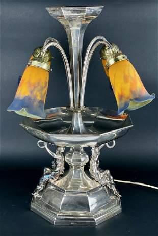 A LARGE ART NOUVEAU SILVER CENTERPIECE / LAMP