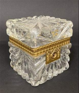 19TH C. ORMOLU MOUNTED BACCARAT CRYSTAL BOX