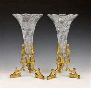 PAIR OF ORMOLU MOUNTED BACCARAT CRYSTAL VASES