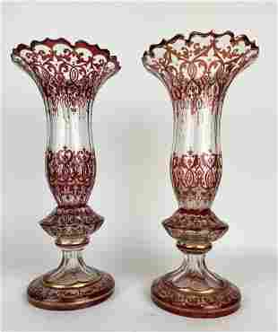 A PAIR OF 19TH C. GILT BOHEMIAN GLASS VASES