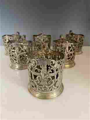 SET OF 6 ANTIQUE PERSIAN SHIRAZ SILVER TEA GLASS HOLDER