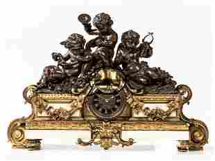 LARGE FRENCH FIGURAL BRONZE & MARBLE CLOCK