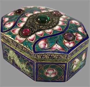 19TH C. INDIAN ENAMEL STERLING SILVER BOX