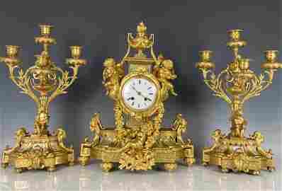 19TH C. SEVRES AND DORE BRONZE CLOCK SET
