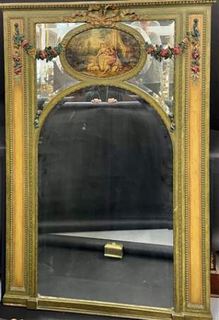 ANTIQUE FRENCH GILT AND PAINTED TRUMEAU MIRROR
