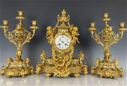 19TH C. SEVRES AND DORE BRONZE CLOCK SET