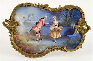 A LARGE FRENCH ENAMEL CENTERPIECE