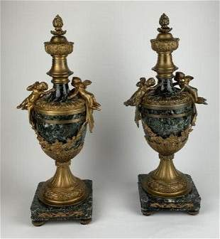 PAIR OF FRENCH DORE BRONZE AND MARBLE CASSOLETTES