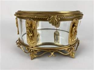A LARGE ORMOLU AND BACCARAT GLASS JEWELRY BOX