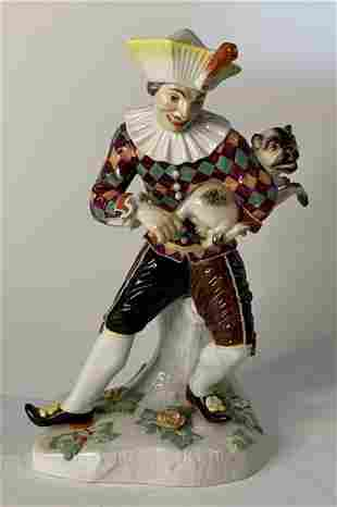 MEISSEN GROUP OF HARLEQUIN WITH DOG