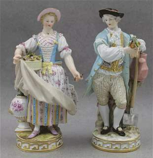 A LARGE PAIR OF 19TH C. MEISSEN FIGURES