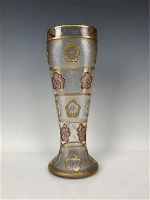 ENAMELED AND GILT ACID ETCHED DAUM NANCY VASE