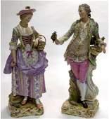A LARGE PAIR OF 19TH C. MEISSEN PORCELAIN GARDENERS