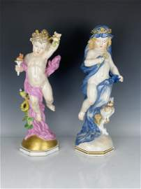 A LARGE PAIR OF 19TH C. MEISSEN FIGURES OF DAY AND NIGH