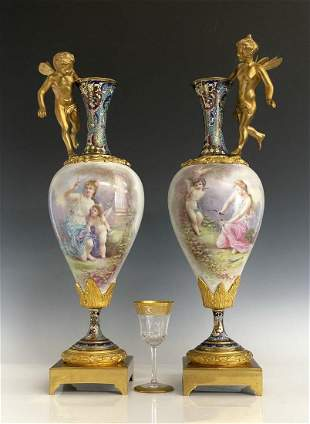 A MAGNIFICENT PAIR OF FRENCH CHAMPLEVE ENAMEL & SEVRES