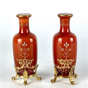 A PAIR OF ENAMELLED BACCARAT AND STERLING SILVER VASES