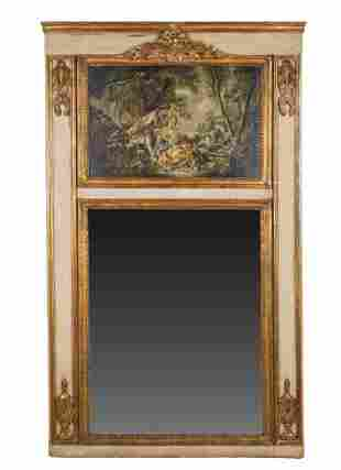19TH C. FRENCH PAINTED & GILT TRUMEAU MIRROR