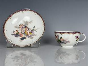 18TH C. MEISSEN CUP AND SAUCER