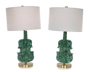 A LARGE PAIR OF VIOLIN SHAPED MALACHITE LAMPS