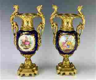 VERY FINE PAIR OF ORMOLU MOUNTED SEVRES PORCELAIN VASES