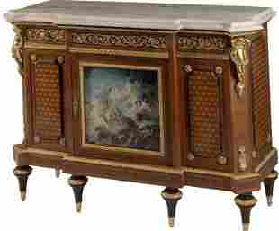 LOUIS XVI STYLE ORMOLU MOUNTED PARQUETRY COMMODE