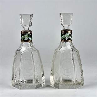 A PAIR AUSTRIAN LOBMEYR GLASS & ENAMEL PERFUME BOTTLES
