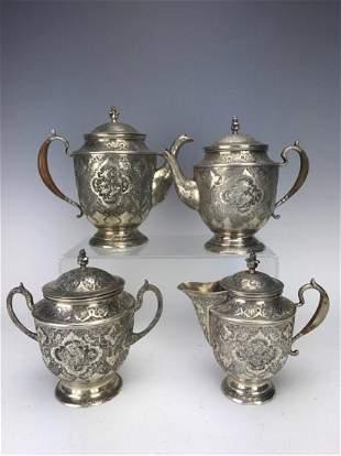 ANTIQUE PERSIAN SILVER TEA SET CIRCA 1950