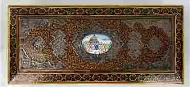A PERSIAN SILVER AND ENAMEL TOP MICRO MOSAIC BOX