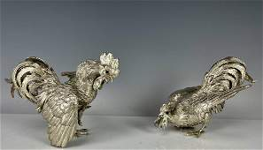 A PAIR OF STERLING SILVER FIGHTING COCKS