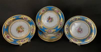 SET OF 8 SEVRES OPALINE PLATES SIGNED FRANCOIS ROBERT