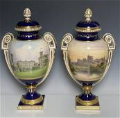 A MAGNIFICENT PAIR OF TOPOGRAPHICAL MINTON VASES