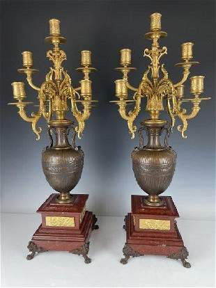 PAIR OF NEOCLASSICAL BRONZE & ROUGES MARBLE CANDELABA