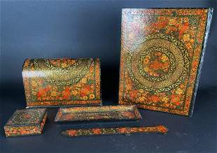 19TH C. INDIAN PAPER MACHE WRITING SET