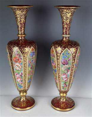 A LARGE PAIR OF BOHEMIAN OVERLAY GLASS VASES