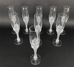 SET OF 9 FABERGE CHAMPAGNE FLUTES
