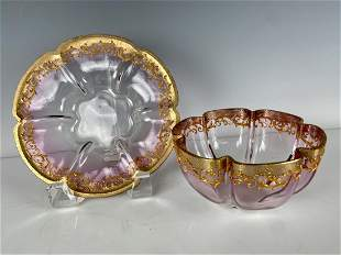 ENAMELED AND GILT MOSER FINGER BOWL AND PLATE