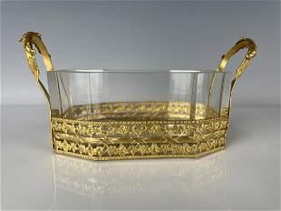 ORMOLU AND BACCARAT GLASS VIDE POCHE