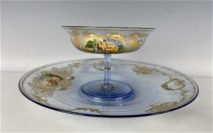 ENAMELED MURANO GLASS WINE GLASS AND PLATE