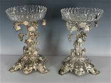PAIR OF VICTORIAN STERLING SILVER & CRYSTAL CENTERPICES