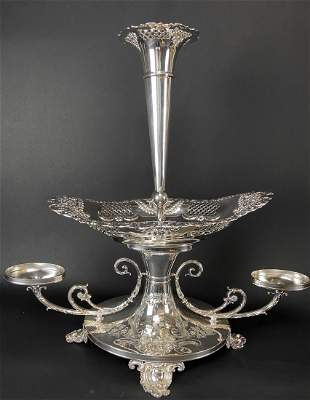 A LARGE ENGLISH SILVER PLATED CENTERPIECE