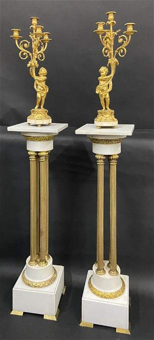 A PALATIAL PAIR OF DORE BRONZE & MARBLE CANDELABRA