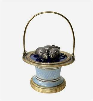 FABERGE SILVER AND ENAMEL BASKET
