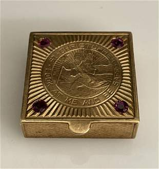 14KT GOLD PILL BOX WITH RUBIES