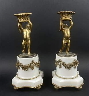 A PAIR OF 19TH C. DORE BRONZE &MARBLE CANDEL HOLDERS