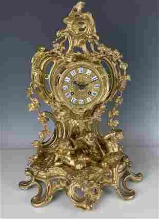 19TH C. DORE BRONZE FIGURAL CLOCK