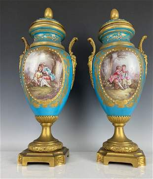 A LARGE PAIR OF 19TH C. JEWELLED PORCELAIN VASES