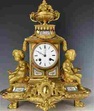A MAGNIFICENT FRENCH ORMOLU MOUNTED SEVRES CLOCK