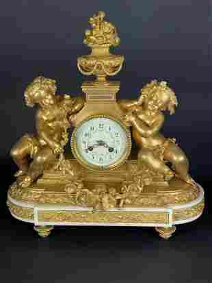 19TH C. DORE BRONZE AND MARBLE FIGURAL CLOCK
