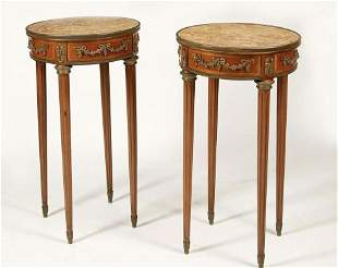 A PAIR OF DORE BRONZE MOUNTED TABLES